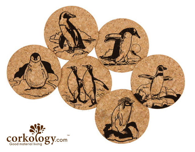 Penguin Cork Coaster Set -Free Shipping!