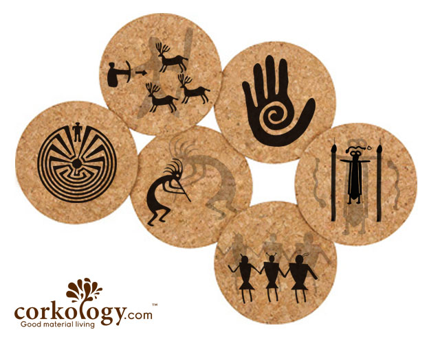 Petroglyphs Cork Coaster Set -Free Shipping!