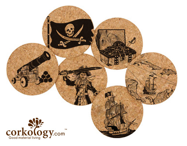 Pirates Cork Coaster Set -Free Shipping!