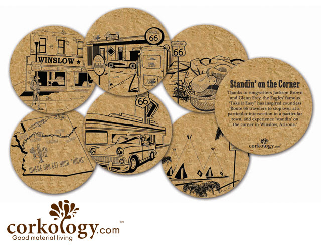 Route 66 Cork Coaster Set - Free Shipping!
