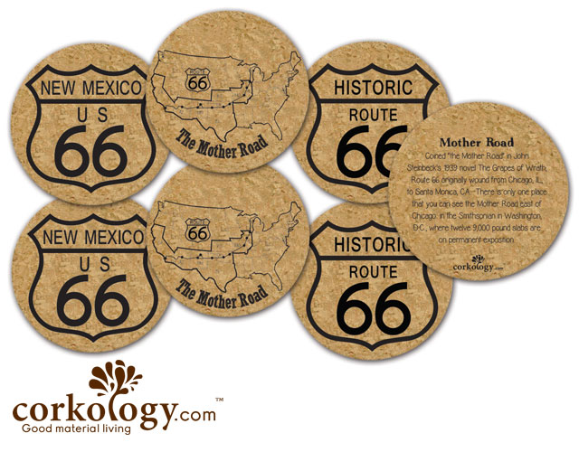 Route 66, New Mexico Cork Coaster Set - Free Shipping!