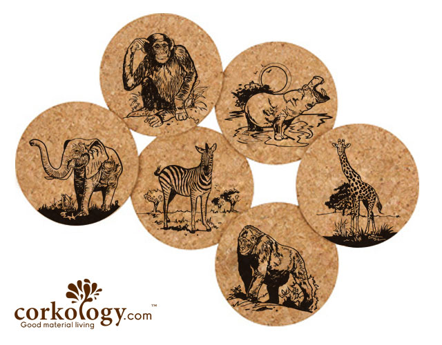Safari Cork Coaster Set -Free Shipping!