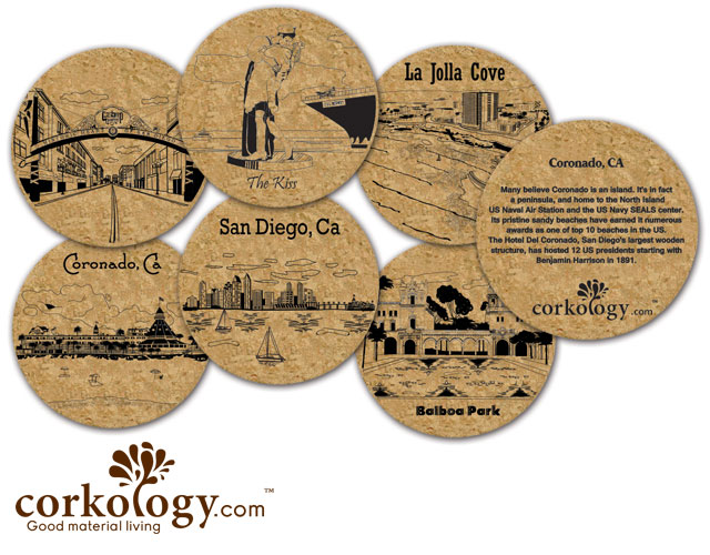 San Diego #1 Cork Coaster Set - Free Shipping!