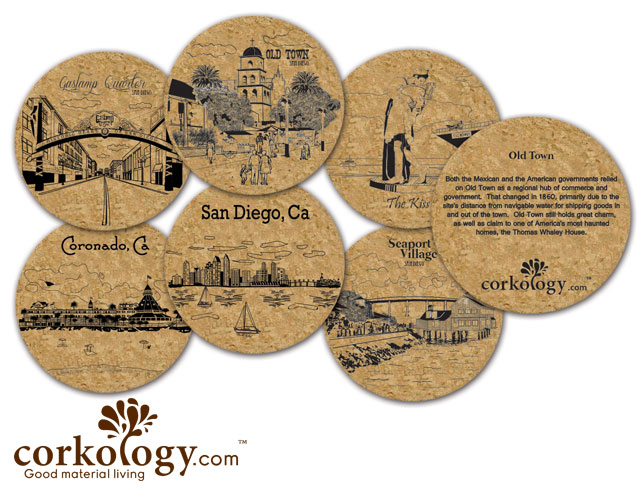 San Diego #2 Cork Coaster Set - Free Shipping!