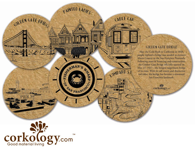 San Francisco Cork Coaster Set - Free Shipping!