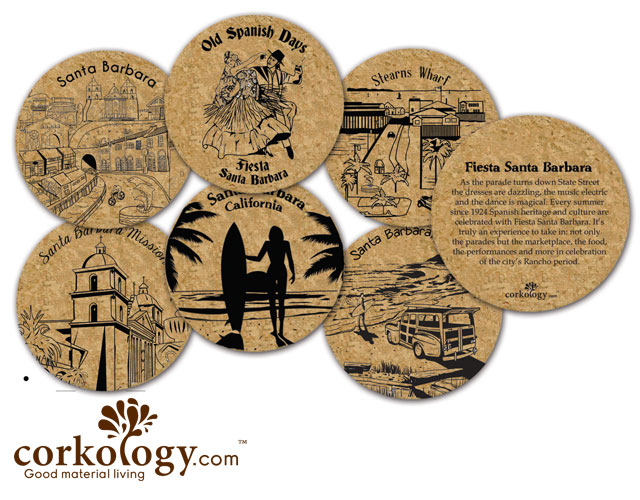 Santa Barbara Cork Coaster Set - Free Shipping!