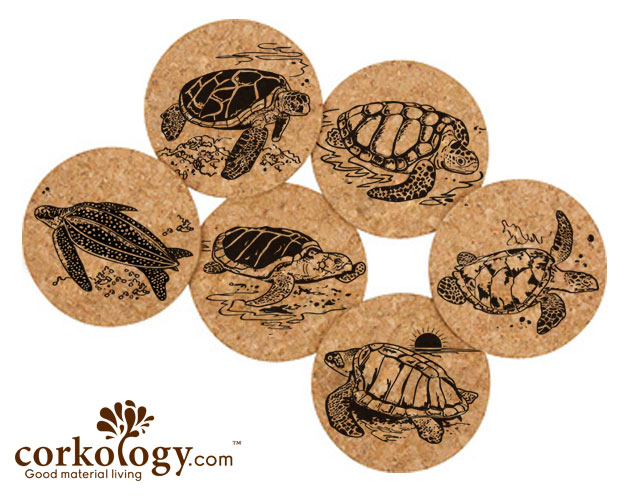 Sea Turtles Cork Coaster Sets -Free Shipping!