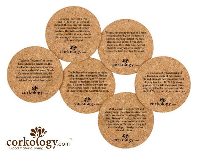Songbirds Cork Coaster Sets -Free Shipping!