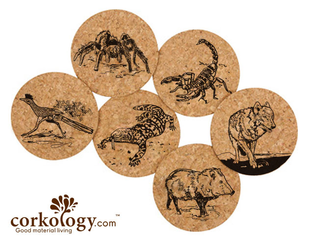 Southwest Animals Cork Coaster Set -Free Shipping!