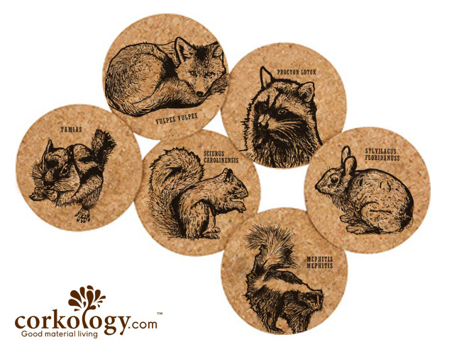 Urban Critters Cork Coaster Sets -Free Shipping!