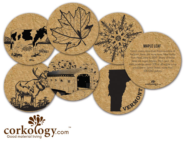 Vermont Cork Coaster Set - Free Shipping!