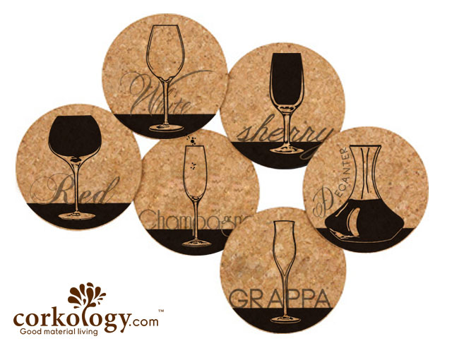 Wine Glasses Cork Coaster Sets -Free Shipping!
