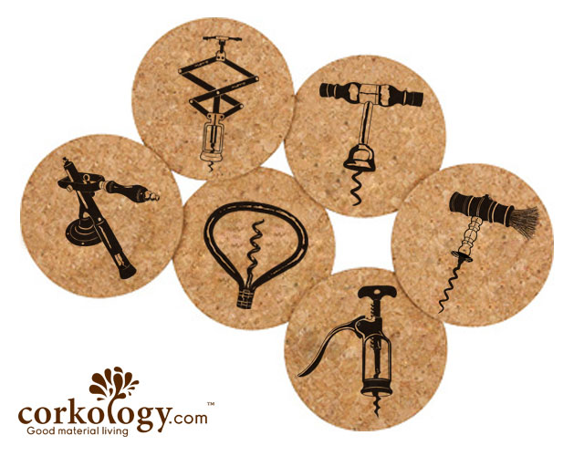 Corkscrews Cork Coaster Sets- Free Shipping