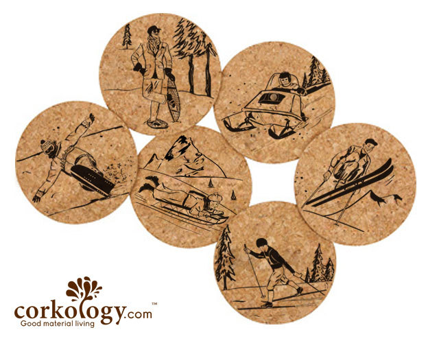 Winter Sports Cork Coaster Sets -Free Shipping!