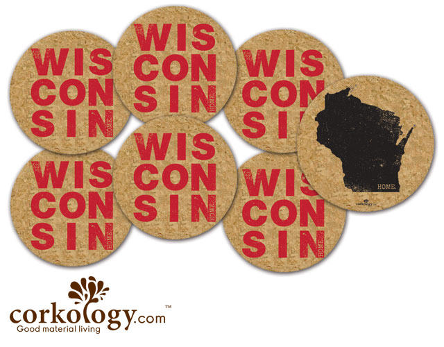 Wisconsin Cork Coaster Set - Free Shipping!